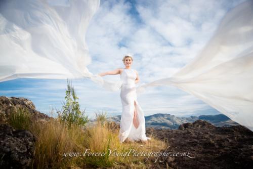 wedding veil flying