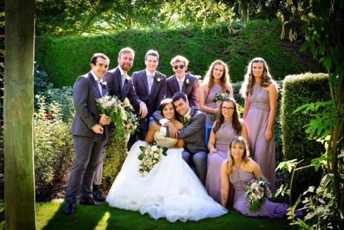 Wedding group in a garden